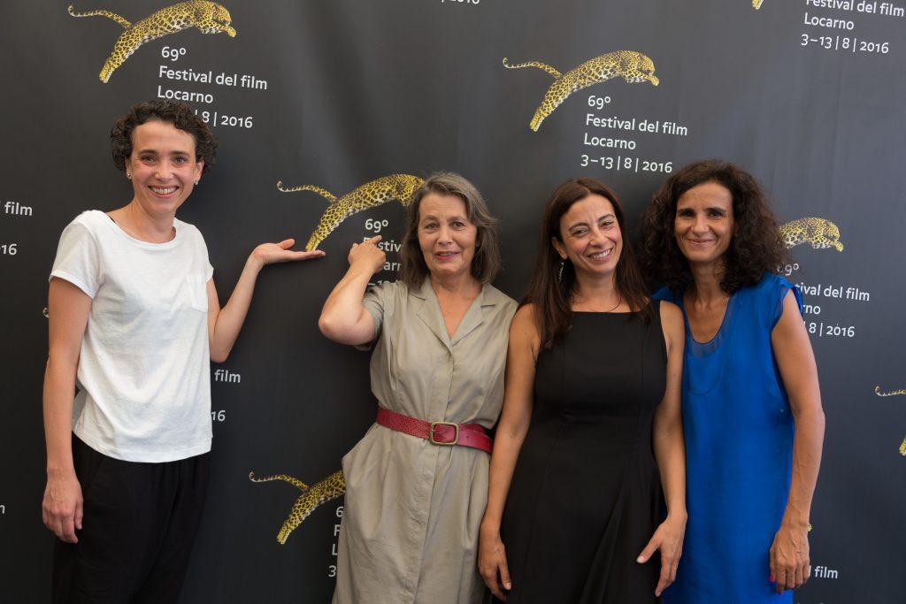 El equipo de Correspondências, en Locarno. A la izquierda la actriz Rita Durão actress,Rita Azevedo Gomes director, Joana Ferreira producer, Isabel Machado producer